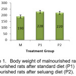 Figure 1.Body weight of malnourished rats (M),  malnourished rats after standard diet (P1) and  malnourished rats after seluang diet (P2)